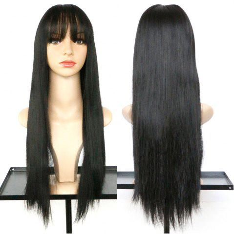 Sale Long Full Bang Straight Synthetic Wig BLACK