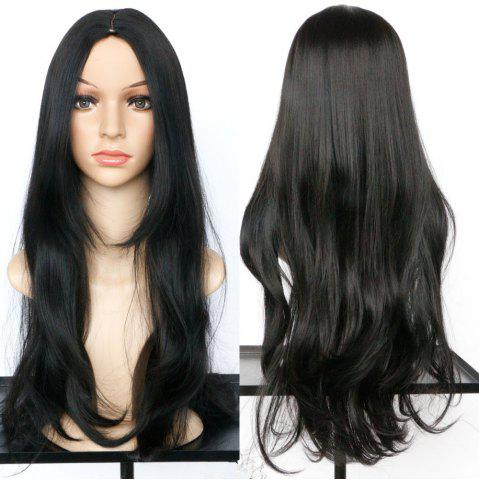 Long Middle Part Slightly Curled Synthetic Wig - BLACK