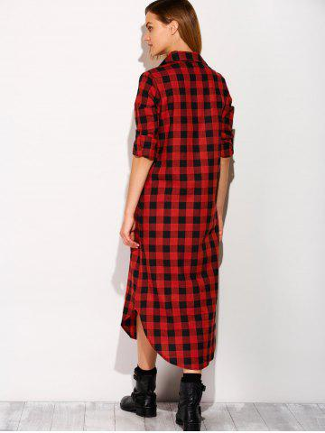 Buy Long Sleeve Button Down Plaid Midi Flannel Shirt Dress - S RED Mobile