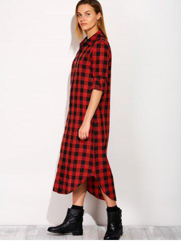 Latest Long Sleeve Button Down Plaid Midi Flannel Shirt Dress - S RED Mobile