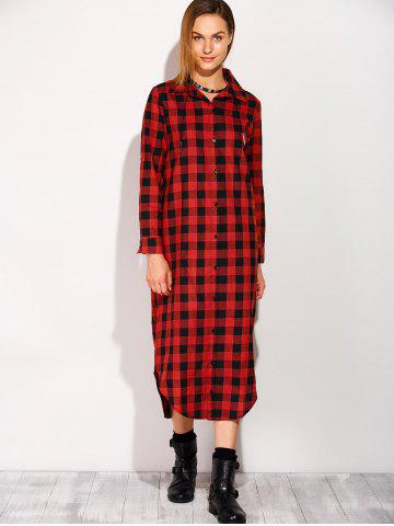 Chic Long Sleeve Button Down Plaid Midi Flannel Shirt Dress - S RED Mobile
