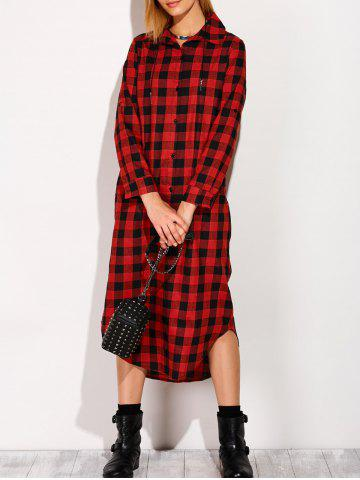 Sale Long Sleeve Button Down Plaid Midi Flannel Shirt Dress - S RED Mobile