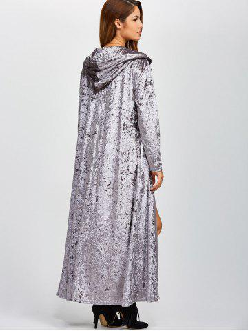 Buy Open Front Maxi Velvet Coat - ONE SIZE GRAY Mobile