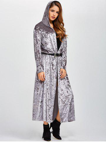 Shops Open Front Maxi Velvet Coat - ONE SIZE GRAY Mobile