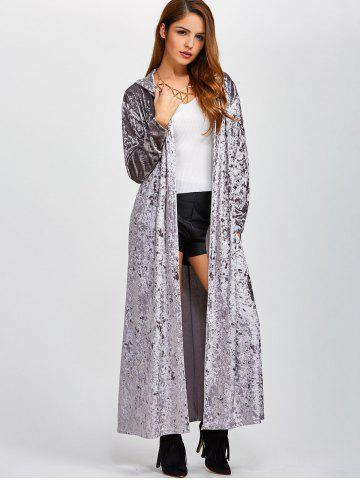 Trendy Open Front Maxi Velvet Coat - ONE SIZE GRAY Mobile