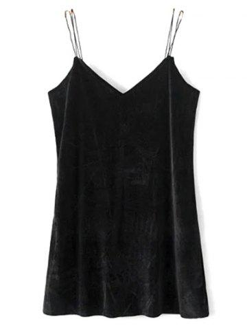 Double Strap Velvet Mini Dress - Black - S
