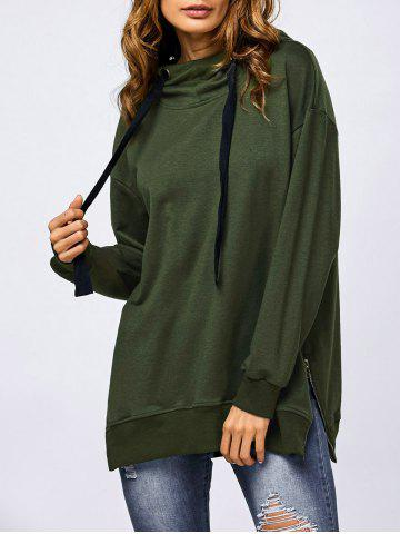 Outfit Side Slit Drawstring Hoodie ARMY GREEN M