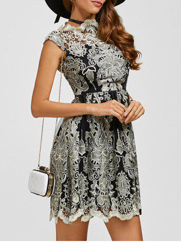 Discount Arab Totem Embroidery High Waist Lace Skater Dress