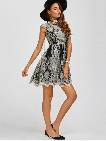 Fancy Arab Totem Embroidery High Waist Lace Skater Dress - S BLACK Mobile