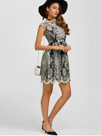 Store Arab Totem Embroidery High Waist Lace Skater Dress - S BLACK Mobile