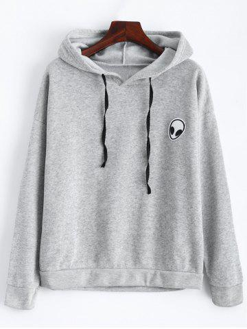 Outfits Alien Patch Drawstring Hoodie - L GRAY Mobile