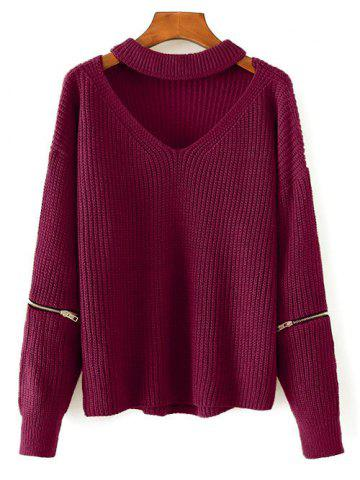 Discount Chunky Choker Sweater WINE RED ONE SIZE