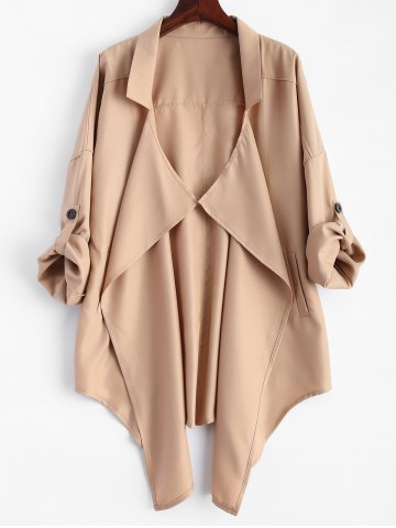 Fancy Pointed Hem Plus Size Trench Coat