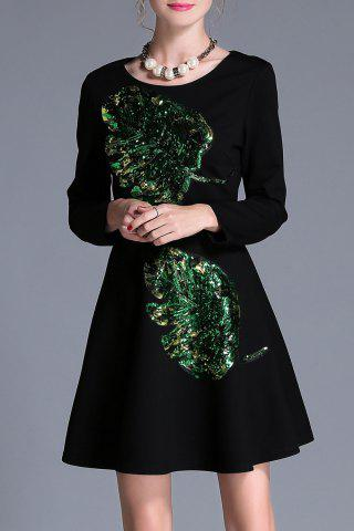 Fashion Sequin Long Sleeve A Line Dress