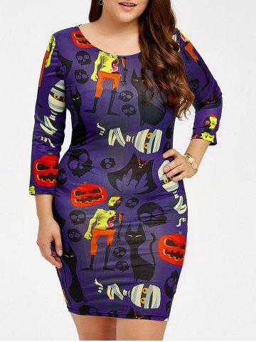 Skull Pumpkin Print Halloween Bodycon Dress Pourpre 3XL