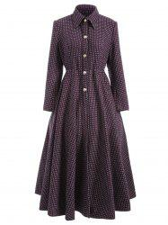 Polka Dot Woolen Skirted A Line Long Maxi Coat -