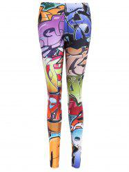 Graffiti Print Bodycon Leggings - RED