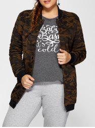 Double Pockets Fleece Camo Print Coat