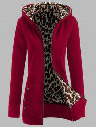 Plus Size Leopard Pattern Fur-Lined Coat - DEEP RED