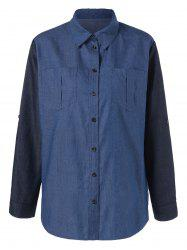 Plus Size Adjustable Sleeve Denim Shirt -