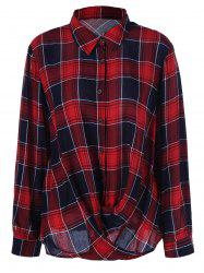 Plus Size Twist Front Plaid Shirt