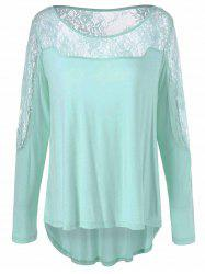 Lace Patchwork High Low Tee - CLOVER XL