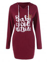 Snowflake Print Hooded Funny Sweatshirt Dress - BURGUNDY XL