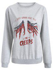Halloween Hand Skeleton Print Sweatshirt