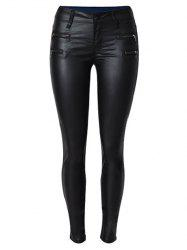 Zippers Faux Leather Ponte Pants -