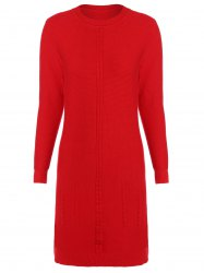 Crew  Neck Cable Knitted  Dress -