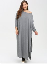 Plus Size Batwing Sleeve Slit Shift Maxi Dress