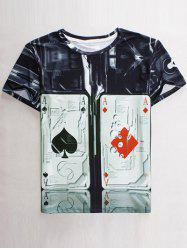Funny 3D Playing Card Print Round Neck Short Sleeves T-Shirt For Men -