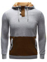 Pocket Button Up Contrast Insert Elbow Patch Hoodie -