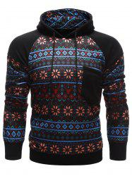 Chest Pocket Tribal Print Raglan Sleeve Hoodie - BLACK