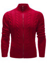 High Neck Zip Up Twist Knit Cardigan - RED