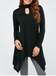 Long Sleeve Keyhole Neck Asymmetrical T-Shirt - BLACK M