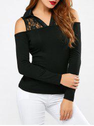 Lace Patchwork Cold Shoulder Blouse
