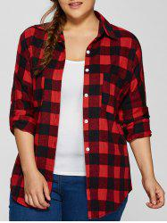 Plus Size Flannel Plaid Cotton Shirt with Pocket - RED