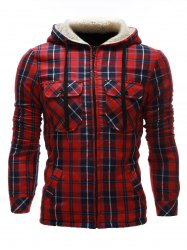 Flocking Hooded Pocket Zip Up Plaid Jacket