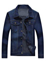 Pocket Front Button Up Flocking Denim Jacket
