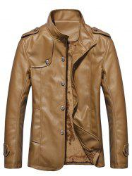 Stand Collar Button Up Epaulet PU Leather Jacket - KHAKI 3XL