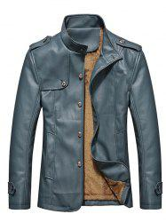 Stand Collar Button Up Epaulet PU Leather Jacket - STONE BLUE