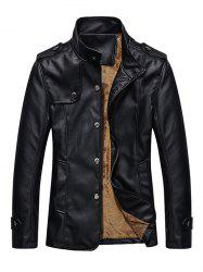 Stand Collar Button Up Epaulet PU Leather Jacket