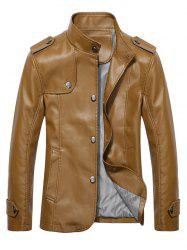 Button Up Stand Collar Epaulet PU Leather Jacket -