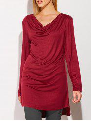 Side Slit High Low Cowl Neck T-Shirt - WINE RED XL