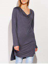 Side Slit High Low Cowl Neck T-Shirt
