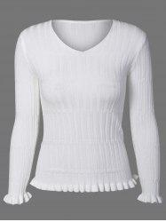 V Neck  Ruffle Ribbed Sweater -
