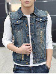 Pocket Distressed Frayed Denim Vest