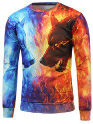 Fire Animal 3D Printed Crew Neck Sweatshirt -