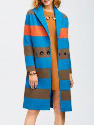 Shawl Collar Coat With Color Block Design - LAKE BLUE